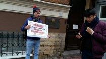Пикет в Ленинграде: Требуем свободу профсоюзов в Казахстане